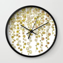 golden string of pearls watercolor 2 Wall Clock