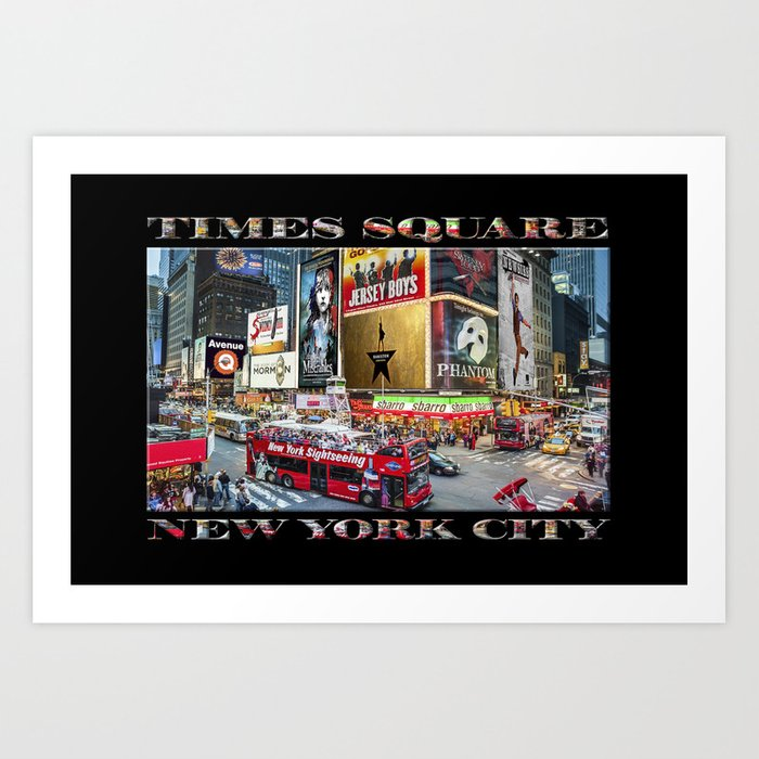 Times Square II (widescreen on black) Art Print