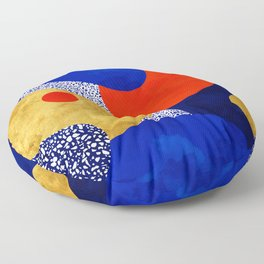 Terrazzo galaxy blue night yellow gold orange Floor Pillow