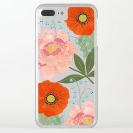 Pions and Poppies Clear iPhone Case