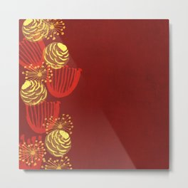 Garden Charm IV:  Floral Watercolor on Scarlet Red Metal Print