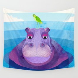 Betty & Ralph the Hippo and Bird Wall Tapestry