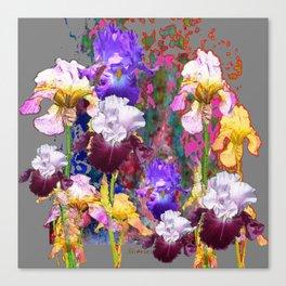 Decorative Spring Grey Iris Yellow & Pink Garden Canvas Print