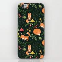 foxes iPhone & iPod Skins featuring Foxes by Julia Badeeva