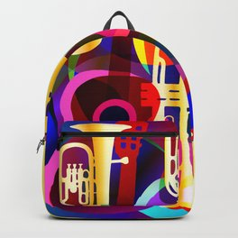 Colorful music instruments with guitar, trumpet, musical notes, bass clef and abstract decor Backpack