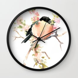 Bullfinch and Spring, Peach colored Floral bird art, spring soft colors Wall Clock