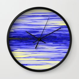 Yellow and Blue Fractal Abstract Wall Clock