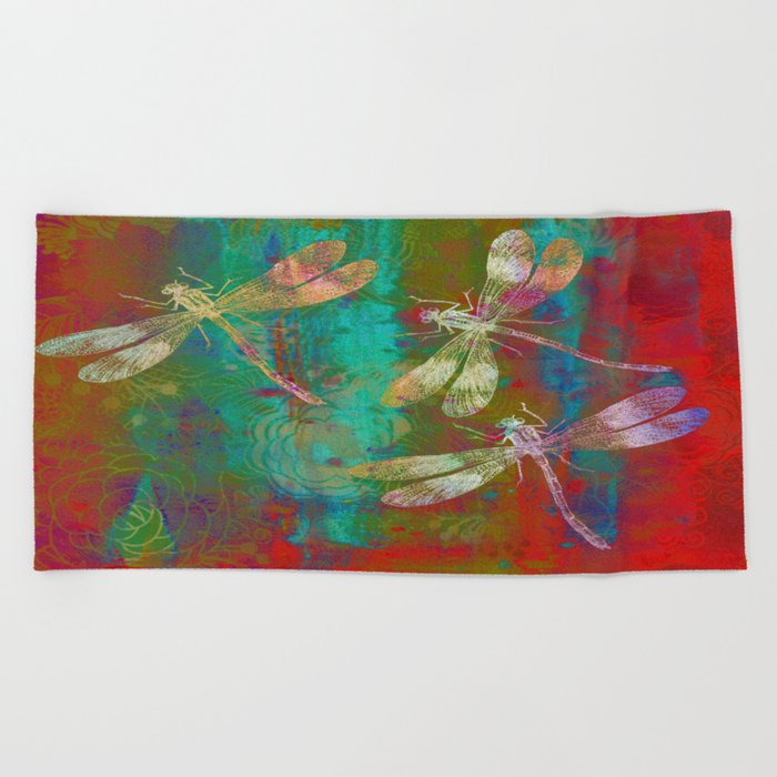 Colorful Dragonflies Beach Towel