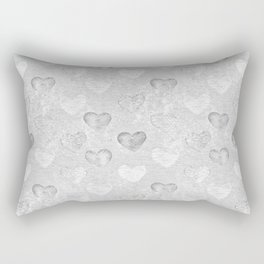 Gray And White Hearts Pattern Rectangular Pillow