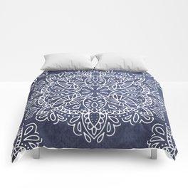 Mandala Vintage White on Ocean Fog Gray Comforters