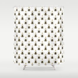 Gold Queen bee / girl power bumble bee pattern Shower Curtain
