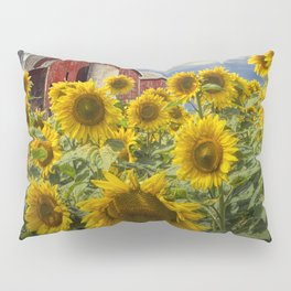 Golden Blooming Sunflowers with Red Barn Pillow Sham