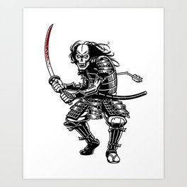 Zombie Samurai Art Print