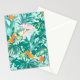 Bird of Paradise Hawaii Rainforest Tropical Leaves Pastels Stationery Cards