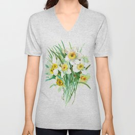 White Daffodils, spring flowers yellow green spring floral design Unisex V-Neck