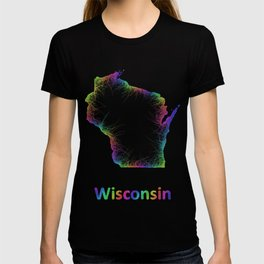 Rainbow Wisconsin map T-shirt