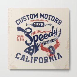 Custom motors california graphic Metal Print