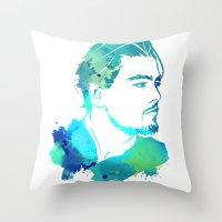 leonardo dicaprio Throw Pillows featuring DiCaprio by BIG Colours
