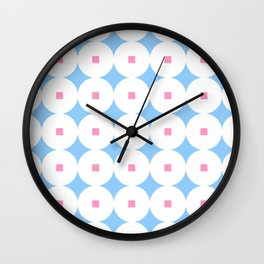 square and circle 7 Blue and pink Wall Clock