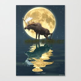 Moose & Moon Canvas Print