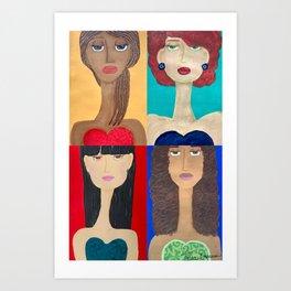 Long Neck Sisters Art Print