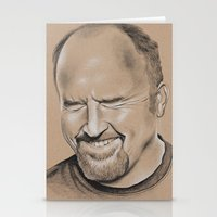 louis ck Stationery Cards featuring Louis CK by Jolene Rose Russell