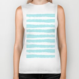 Aqua Blue- White- Stripe - Stripes - Marine - Maritime - Navy - Sea - Beach - Summer - Sailor 2 Biker Tank