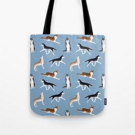Husky Pattern (Blue Gray Background) Tote Bag