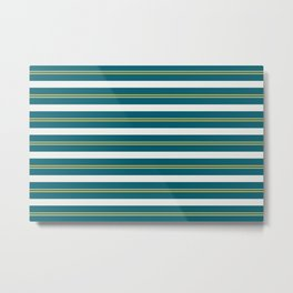 Off White, Dark Yellow and Tropical Dark Teal Inspired by Sherwin Williams 2020 Trending Color Oceanside SW6496 Stripes Thick and Thin Horizontal Line Pattern 2 Metal Print