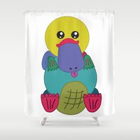 platypus Shower Curtains featuring Rainbow Platypus by Joy Deits