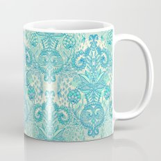 Botanical Geometry - nature pattern in blue, mint green & cream Coffee Mug