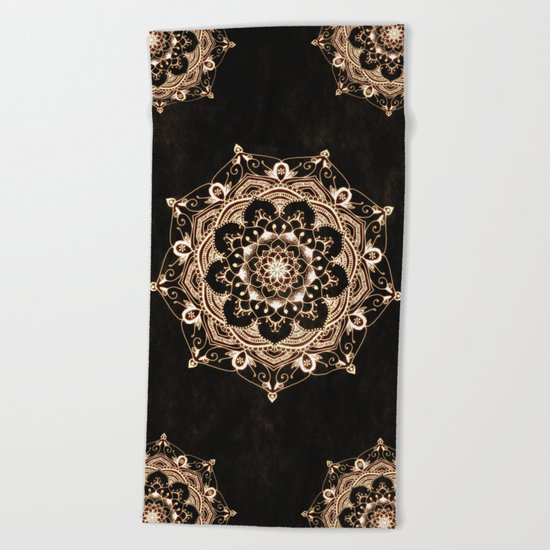 Glowing Spirit Black White Mandala Design Beach Towel