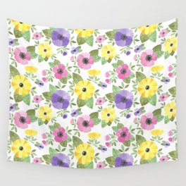 Spring Bouquet Watercolor Wall Tapestry