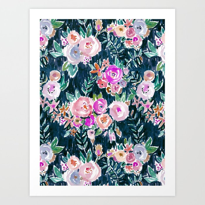 Midnight PROFUSION FLORAL Art Print