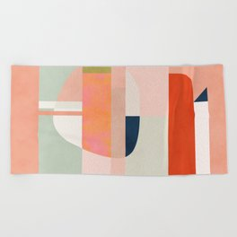 shapes modern mid-century peach pink coral mint Beach Towel