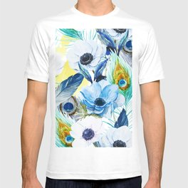 Watercolor Peacock Feather Pattern T-shirt