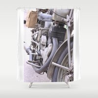 motorbike Shower Curtains featuring Old motorbike by Carlo Toffolo