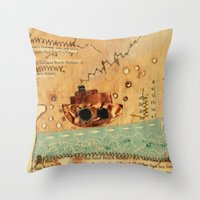 nautical Throw Pillows featuring Nautical by Ingrid Castile