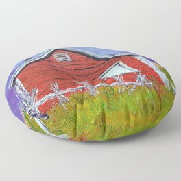 Red house in Newfoundland Floor Pillow