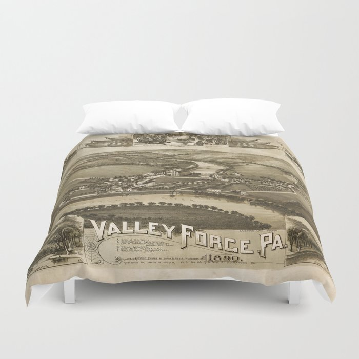 Aerial View of Valley Forge, Pennsylvania (1890) Duvet Cover