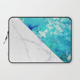 Teal watercolor paint splatters white marble Laptop Sleeve