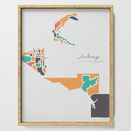 Anchorage Alaska Map with neighborhoods and modern round shapes Serving Tray