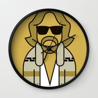 the dude Wall Clocks featuring Dude by Ale Giorgini