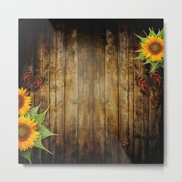 Butterflies and Sunflowers Metal Print