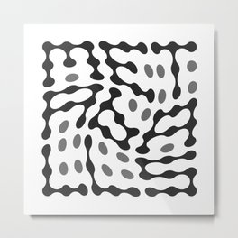 Twisted Metaballs Typography (Grey) Metal Print