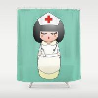 nurse Shower Curtains featuring Kokeshi Nurse by Pendientera