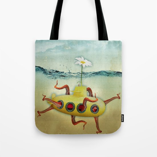yellow submarine in an octapuses garden Tote Bag