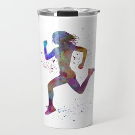 Woman runner running jogger jogging silhouette 01 Travel Mug