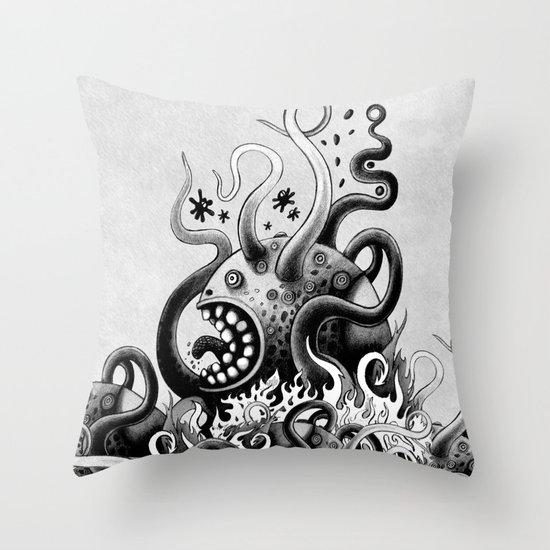 Dark Octoworm Throw Pillow
