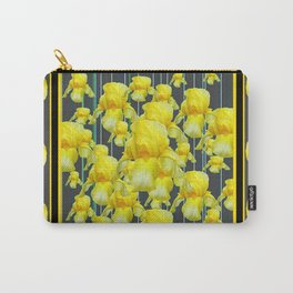 MULTITUDE OF YELLOW IRIS IN GREY PATTERN ART Carry-All Pouch